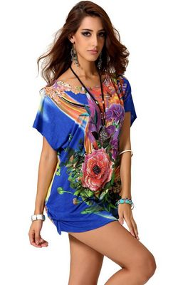 F56312 Women Chiffon Tunic Longshirt Womens Blouse Dresses